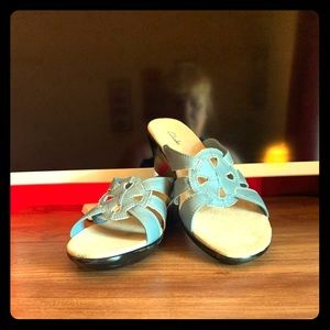 "Never worn "" Clark Sandals Light blue size 8"